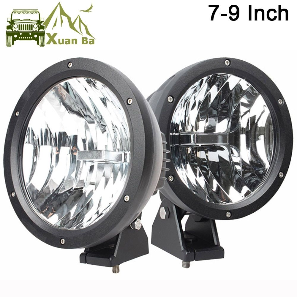 XuanBa 2Pcs 4D 7 /9 Inch 50W Round Led Work Light 12V Driving Fog Lamp For 4x4 Off road Truck Tractor 24V SUV 4WD ATV Headlights
