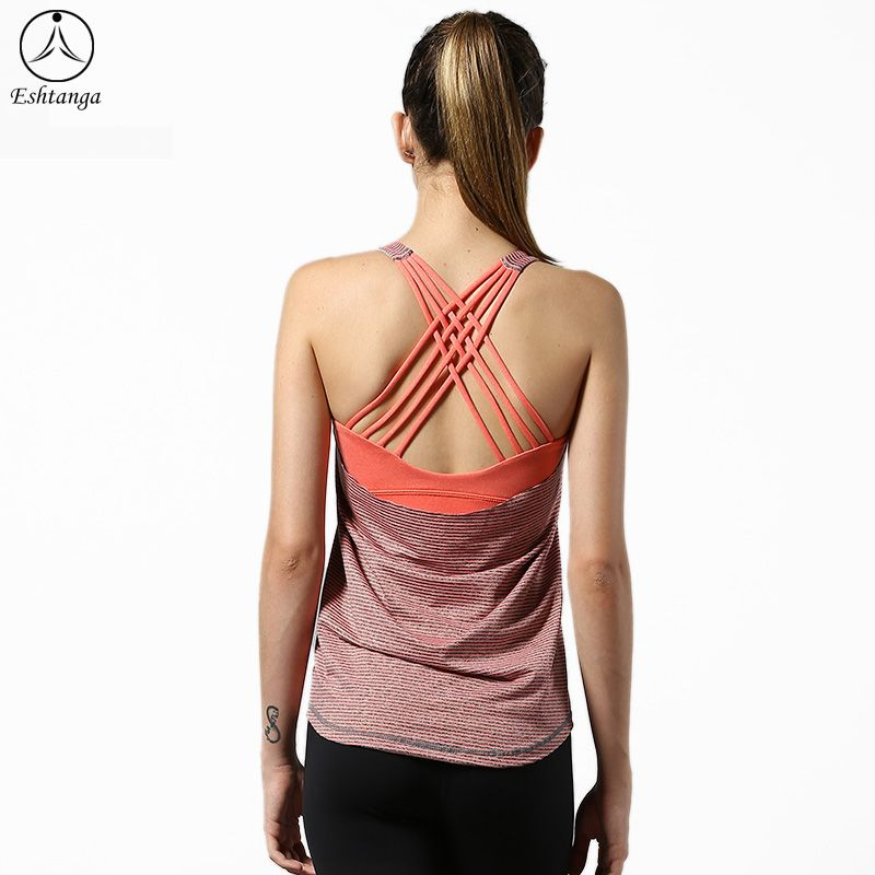 2018 NWT Eshtanga sports Tank with build bra Women's Summer Quick Dry Thick Material Breathable Top Quality Tank Tops Size 4-12