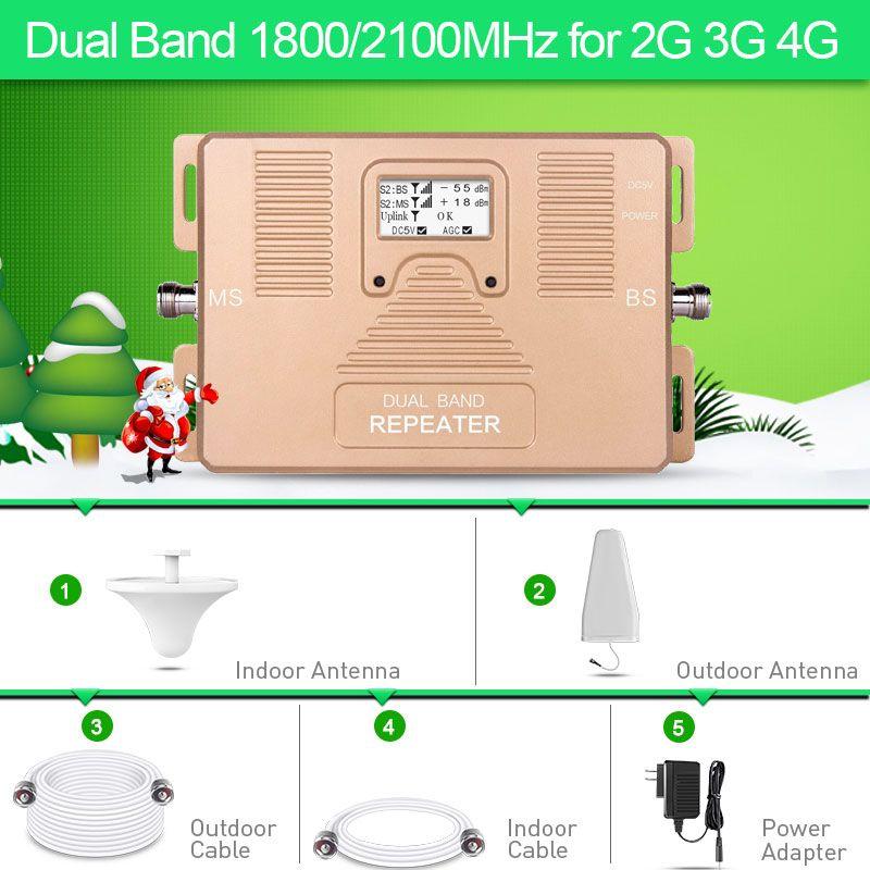 2G 3G 4G double bande 1800/2100 MHz amplificateur de téléphone portable 2g3g4g répéteur DCS UMTS kit de booster de signal mobile costume pour l'ue Assia Africa