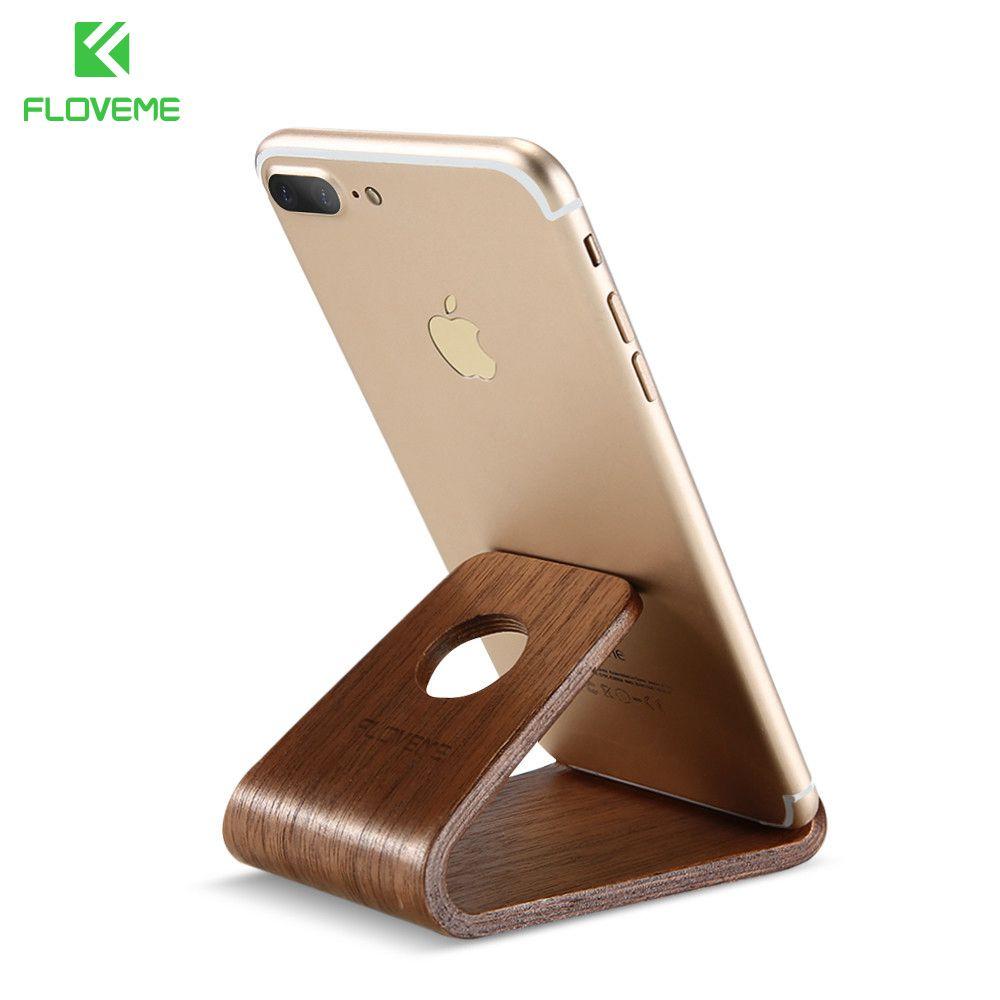 FLOVEME En Bois Téléphone Stand Support Pour Apple iPhone X 8 7 6 5S Naturel En Bois Stand de Soutien Tablet Titulaire De Bureau Mobile Téléphone Stand