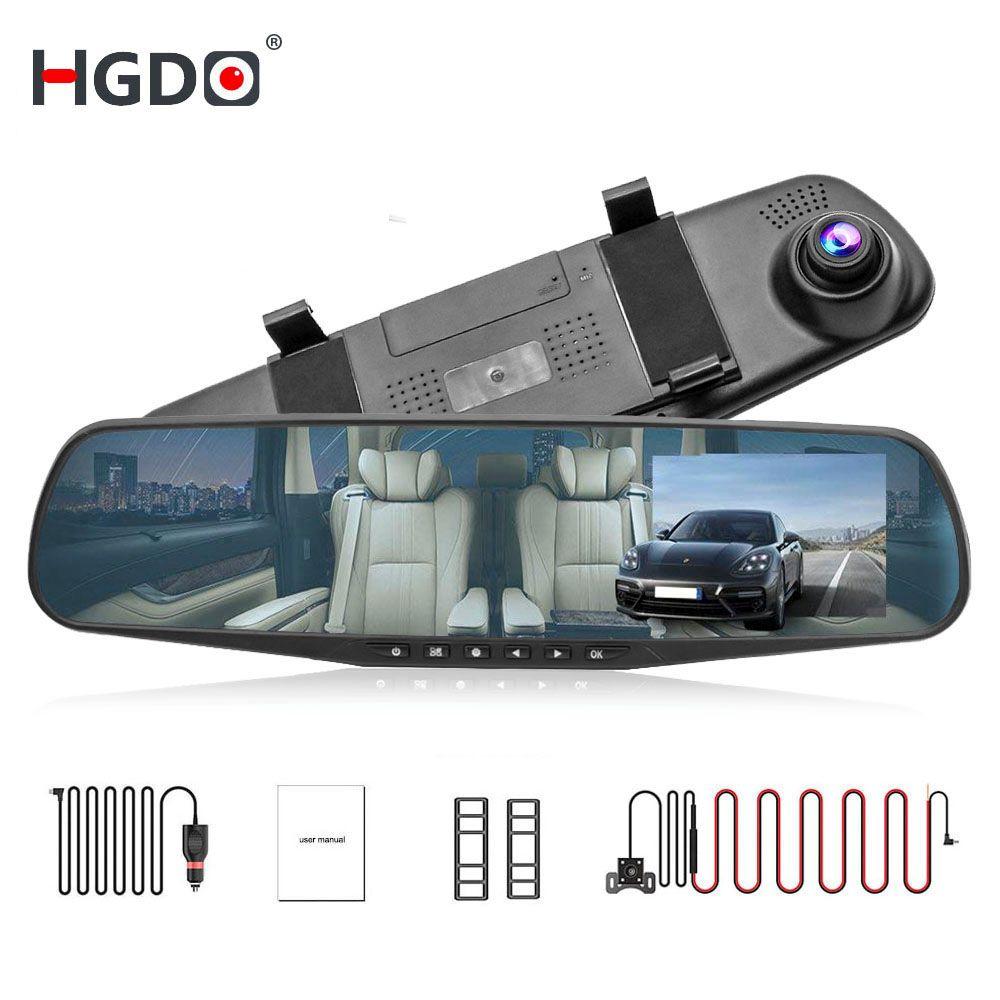 HGDO 4.3'' FHD 1080P Dual Lens Car DVR Mirror Dash Cam auto Recorder Rearview Mirror Night Vision Rear View Camera loop record