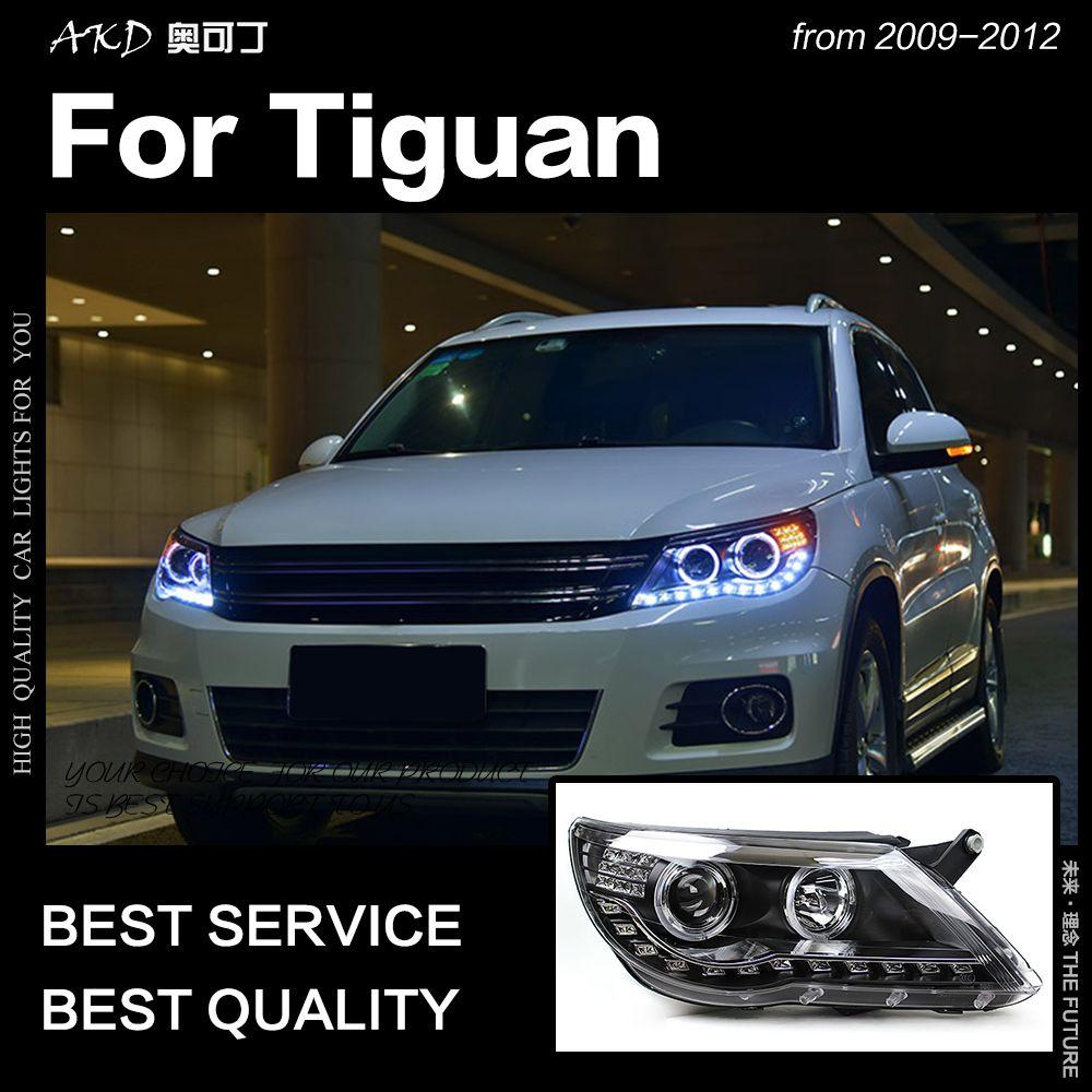 AKD Auto Styling Kopf Lampe für Tiguan Scheinwerfer 2009-2012 Tiguan LED Scheinwerfer led DRL Angel Eye Hid Bi xenon Auto Zubehör