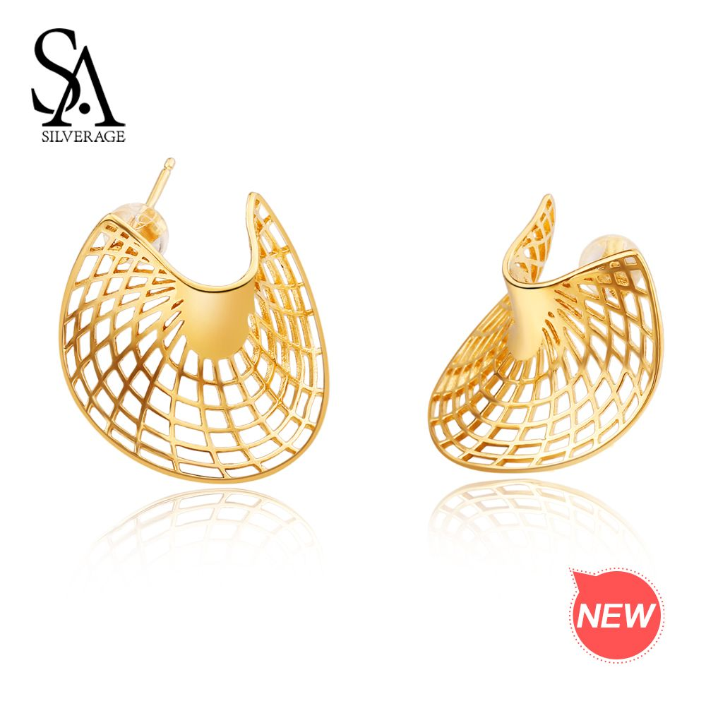 SA SILVERAGE 925 Sterling Silver 14K Yellow Gold Plated Stud Earrings for Women Sector Earrings Fashion Jewelry Gift For Woman