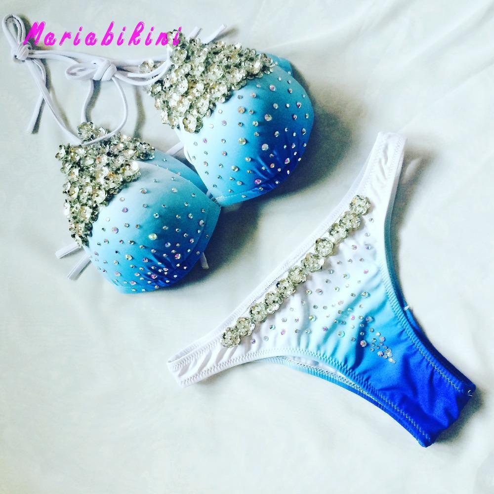 Bijou en diamant Maillot De Bain Bikini En Cristal Paillettes Bikini Rembourrage Maillots De Bain Monokini Push Up Royal Maillots De Bain Femmes Biquini Bikini 2017