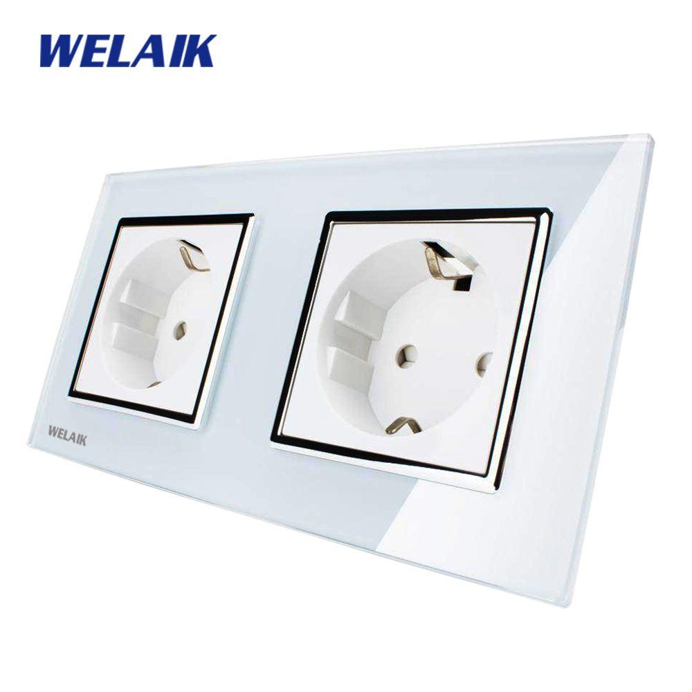 WELAIK Glass Panel Wall Socket Wall Outlet White Black European Standard Power Socket AC110~250V A28E8EW/B