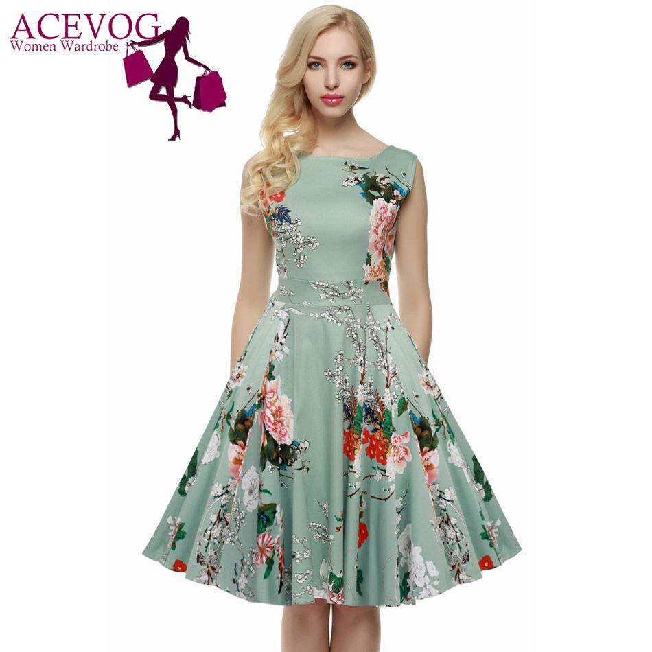 ACEVOG Women Dress Retro Vintage 1950s 60s Rockabilly Floral Swing Summer Dresses <font><b>Elegant</b></font> Bow-knot Tunic Vestidos Robe Oversize