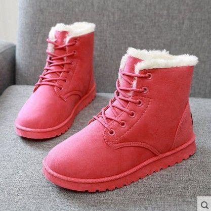 2016 otoño y el invierno de la nieve botas zapatos de mujer con estudiantes engrosadas cortas sandalias con sandalias de terciopelo plus size007 aplanado