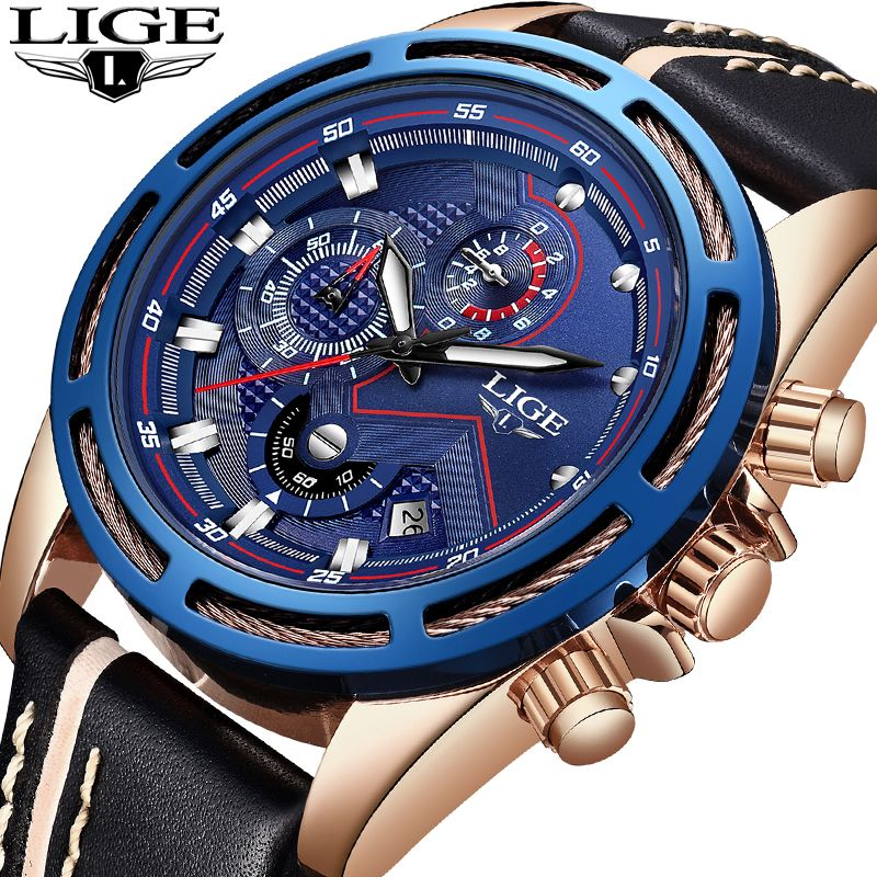 2018 New LIGE Men Watches Top Brand Luxury Leather Business Watch Men Calendar Waterproof Sport Quartz Watch Relogio Masculino