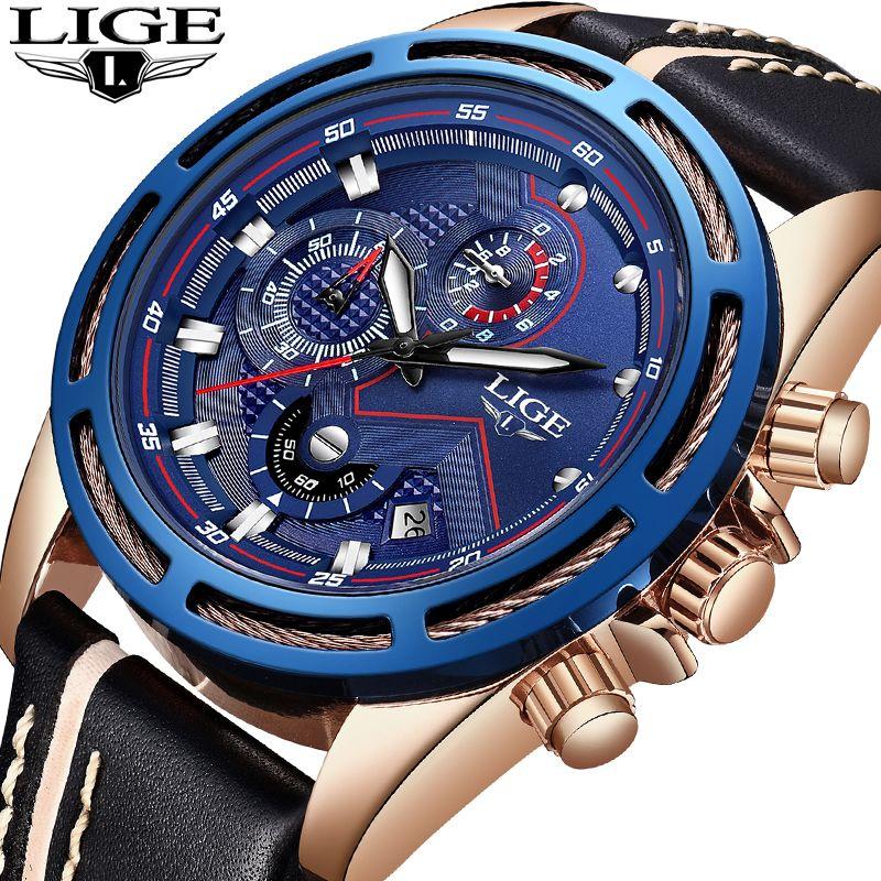 2018 neue LIGE Männer Uhren Top-marke Luxus Leder Business Uhr Männer Kalender Wasserdicht Sport Quarzuhr Relogio Masculino