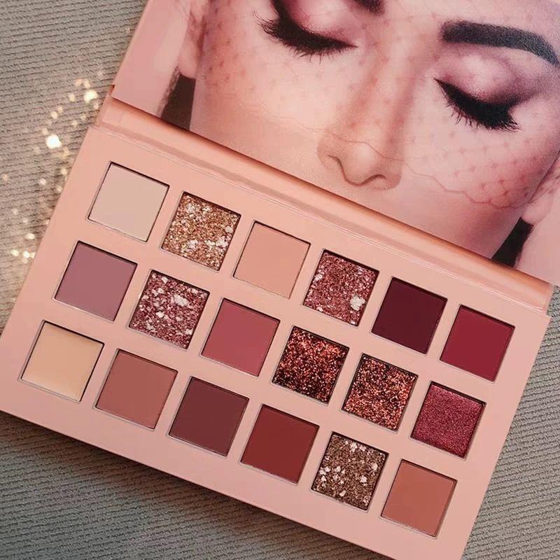 18 couleurs Nude brillant ombre à paupières maquillage nacré paillettes Pigment ombre à paupières Pallete étanche cosmétiques ombre à paupières plateau