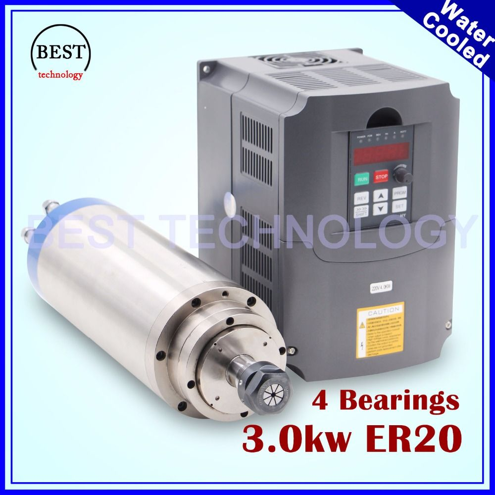 3kw spindle motor water cooling ER20 3.0kw water cooling 4 Bearings 100x250mm & 4 kw VFD / inverter variable frequency driver