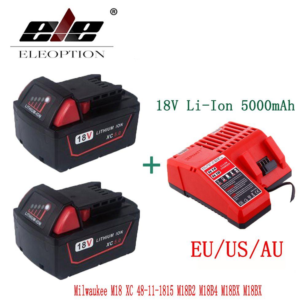 ELEOPTION 2PCS 5000mAh 18V Li-Ion Replacement Battery for Milwaukee M18 XC 48-11-1815 M18B2 M18B4 M18BX M18BX With Charger