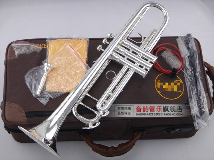 Professional Musical Instruments LT180S-90 Bb Trumpet Brass Silver Plated Exquisite Hand Carved B Flat Trumpet With Mouthpiece