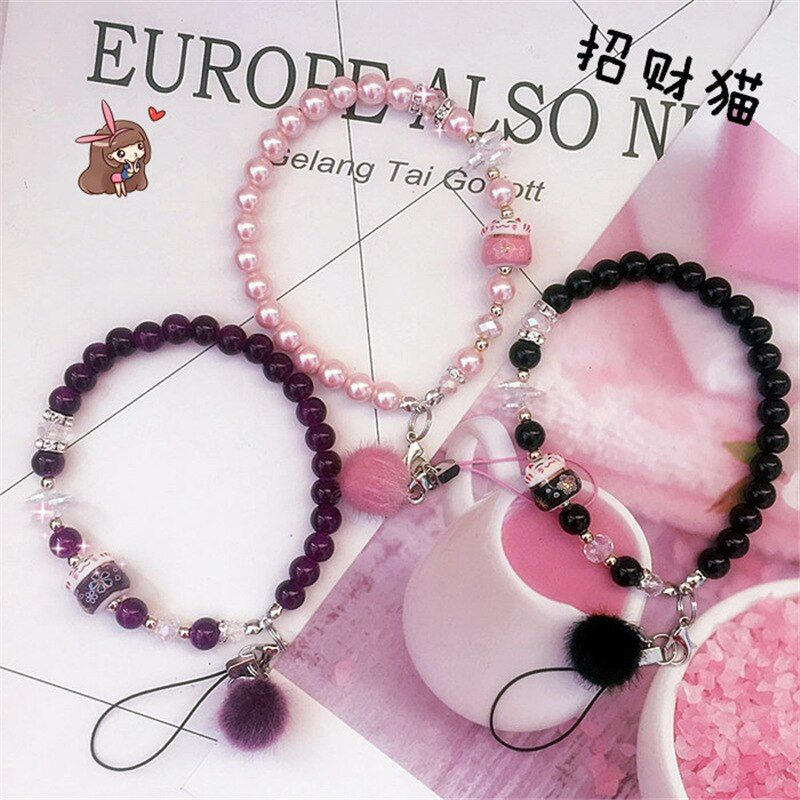 New cute pearl lucky cat mobile phone lanyard hanging neck wrist strap rope diamond ornaments mobile phone short paragraph