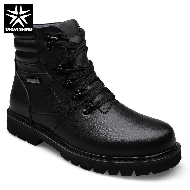 Men Winter Ankle Boots Motorcycle Boots Large Size 39-48 Good Quality Man Genuine Leather Shoes With Warm Fur Lining