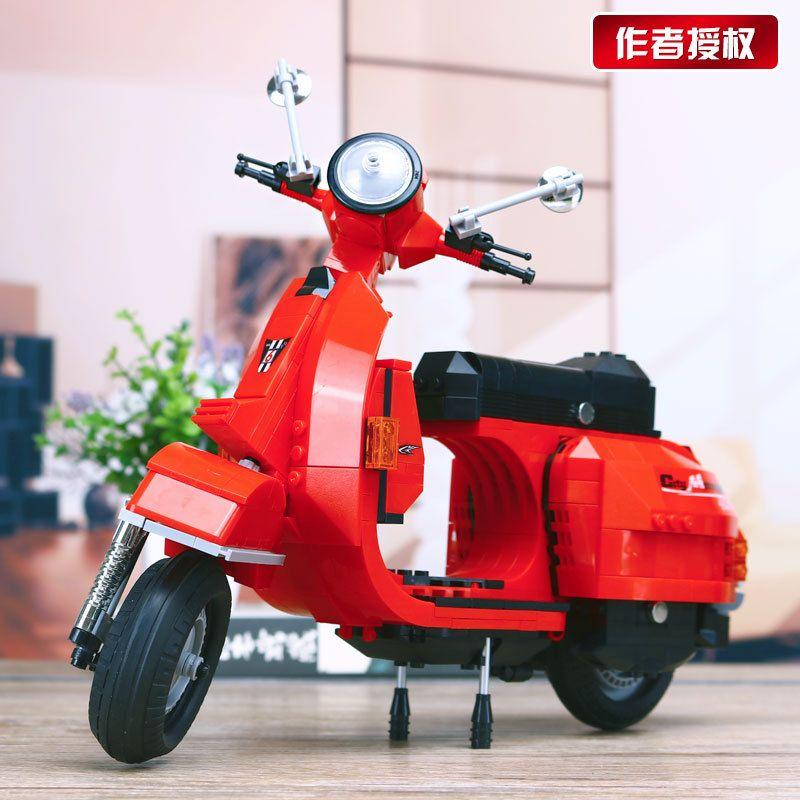 2018 MOC The Vespa P200 Moto Motorcycle 732Pcs Technic Classic Model Building Blocks Educational Toys Compatible with Legoings