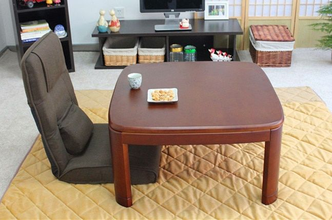 Japanese Kotatsu Table Square 80cm Walnut Asian Home Furniture Living Room Modern Low Foot Warmer Heated Solid Wood Table Design
