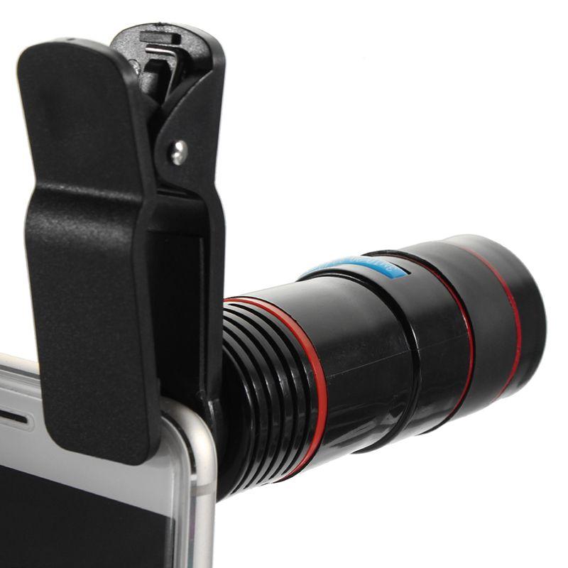 Optique 12X Zoom Télescope Téléobjectif Téléphone Appareil Photo Lens Clip sur L'observation de Camping Universel Pour iPhone Android Mobile Téléphone