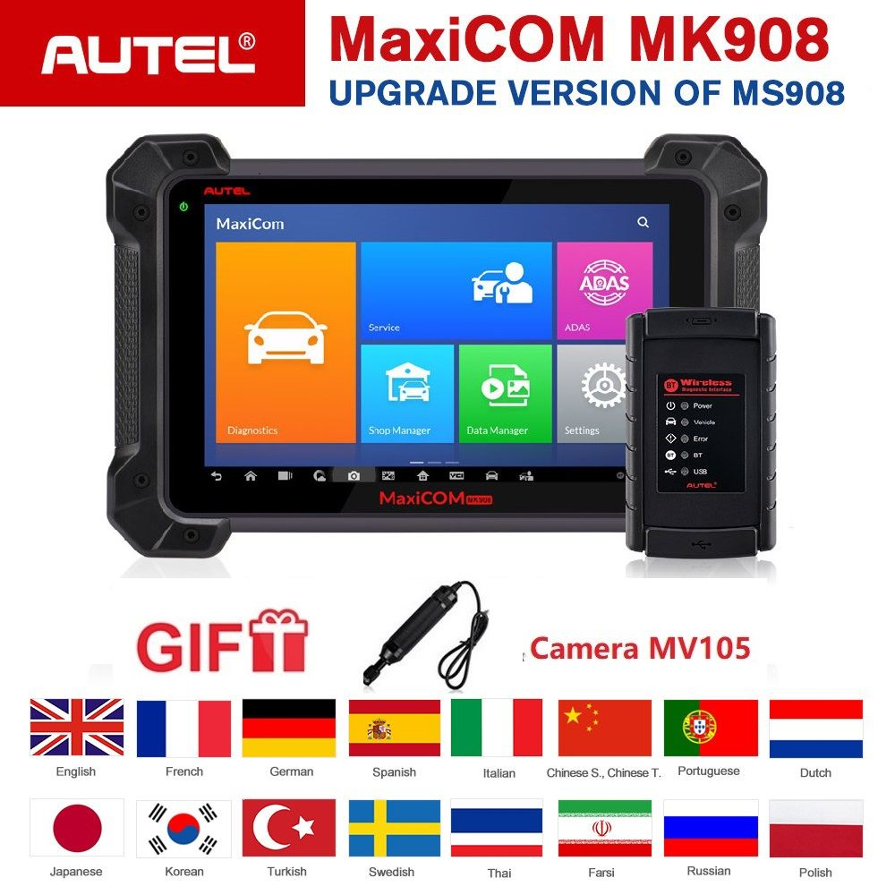 Autel MK908 OBD2 Scanner Diagnose Werkzeug ECU Codierung Bi-Directional Android Automotive Code Reader Unterstützung J2534 Programmierer