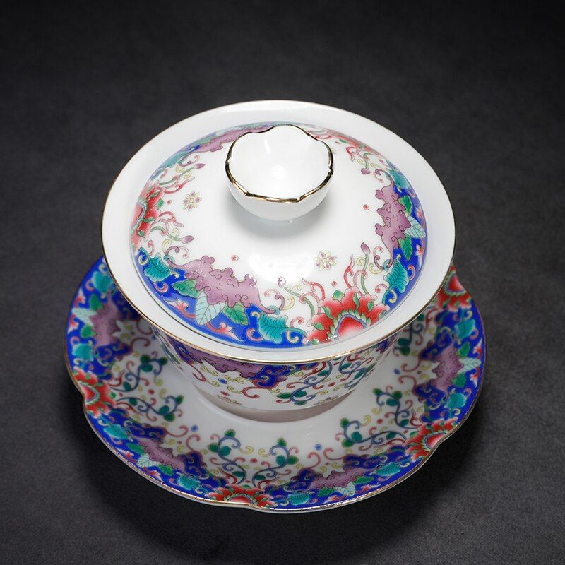 150 ml Jingdezhen émail Gaiwan céramique porcelaine Drinkware bureau Kung Fu thé ensemble maître thé bol avec soucoupe couvercle cadeaux créatifs