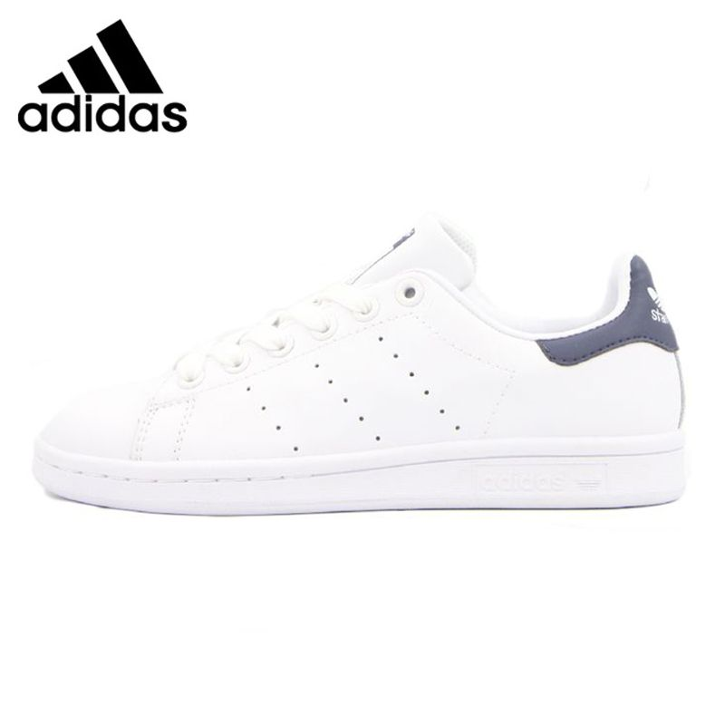 Adidas STAN SMITH Men's and Women's Walking Shoes, White & Black, Lightweight Breathable Non-slip Wear Resistant  M20325