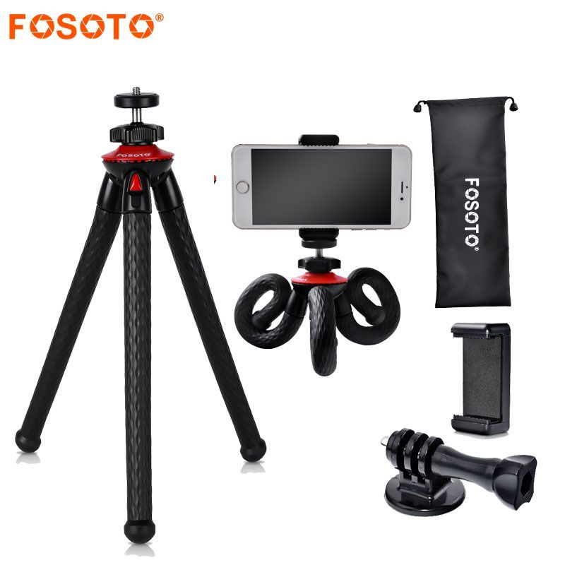 fosoto Mini Flexible Tripod Stand Octopus Waterproof Tripods&Phone Holder For Gopro iPhone X Smartphone DSLR Camera Nikon Canon