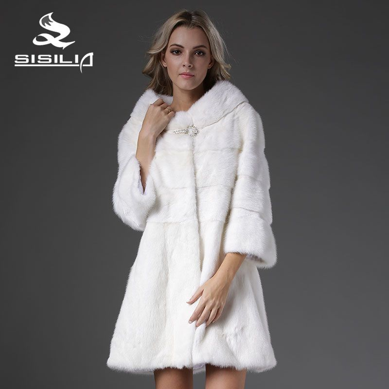 SISILIA 2016 New Women's Vrai Fourrure Mink Coat Nine Quarter Sleeves Fur Strip Handmade Sable Fur Coat Vison Tricotado