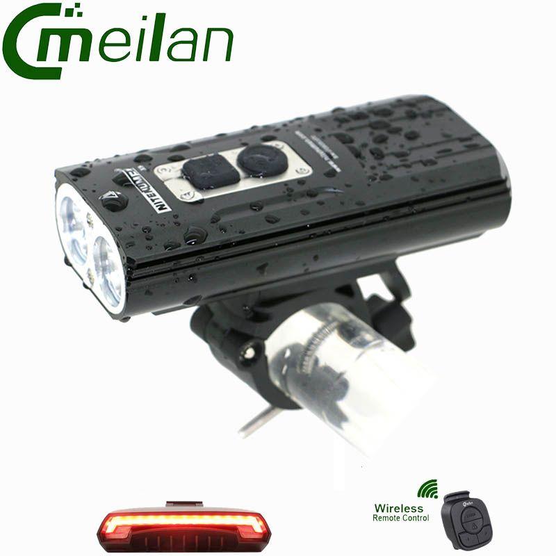 Fahrrad Licht Taschenlampe XM-L2 taschenlampe High Power Radfahren LED & USB Aufladen meilan X5 Drahtlose Fahrrad licht Hinten laser lichter