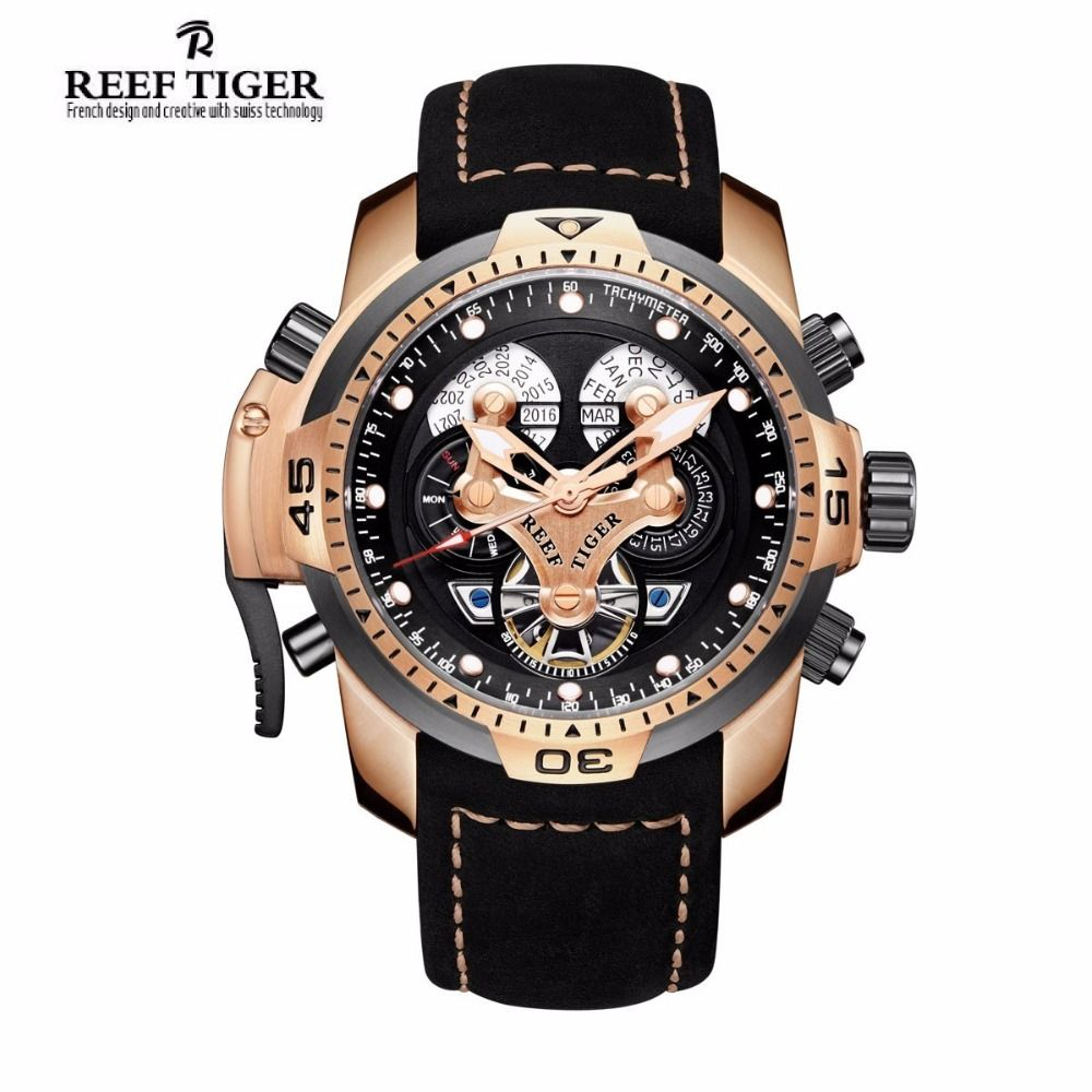Reef Tiger/RT Mens Sport Watches with Complicated Dial Rose Gold Automatic Military Watch Genuine Leather Band RGA3503