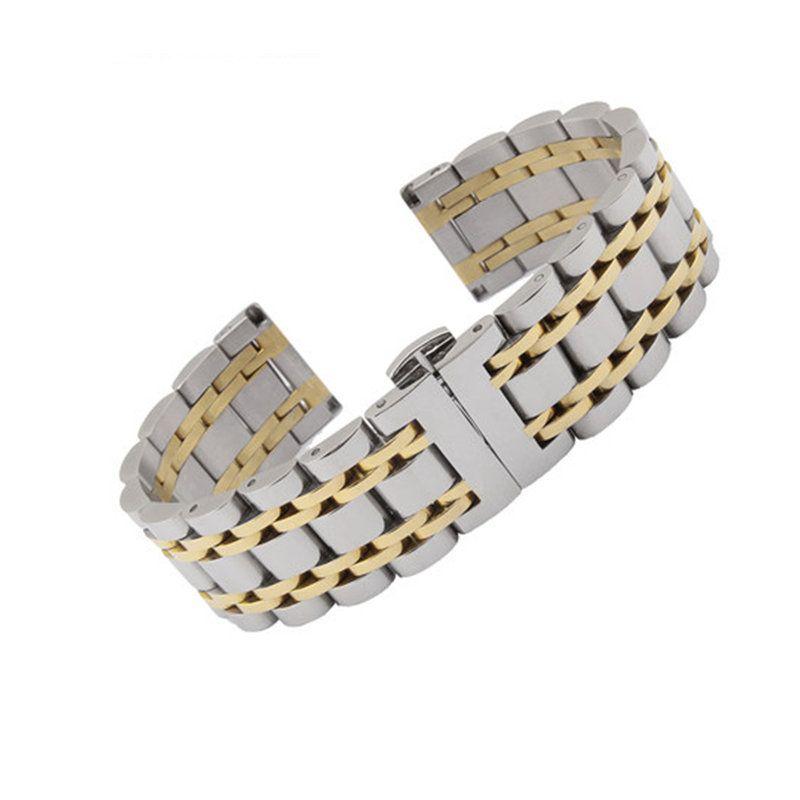 14 16 18 19 20 21 22 24 26mm argent deux tons 316L solide en acier inoxydable Bracelet de montre pour Rolex Tissot Tudor Omega Panerai