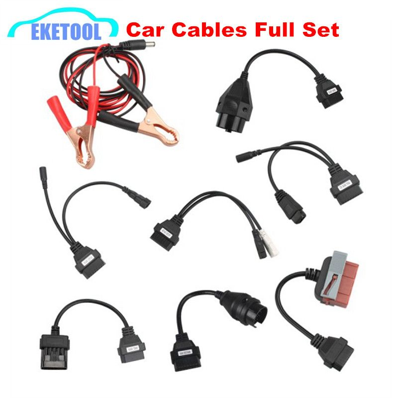 Car Cables Full Set 8pcs Auto Car Diagnostic Connector Adapter For TCS PLUS Pro 8 Car Cable Best Quality OBD OBD2 Cables