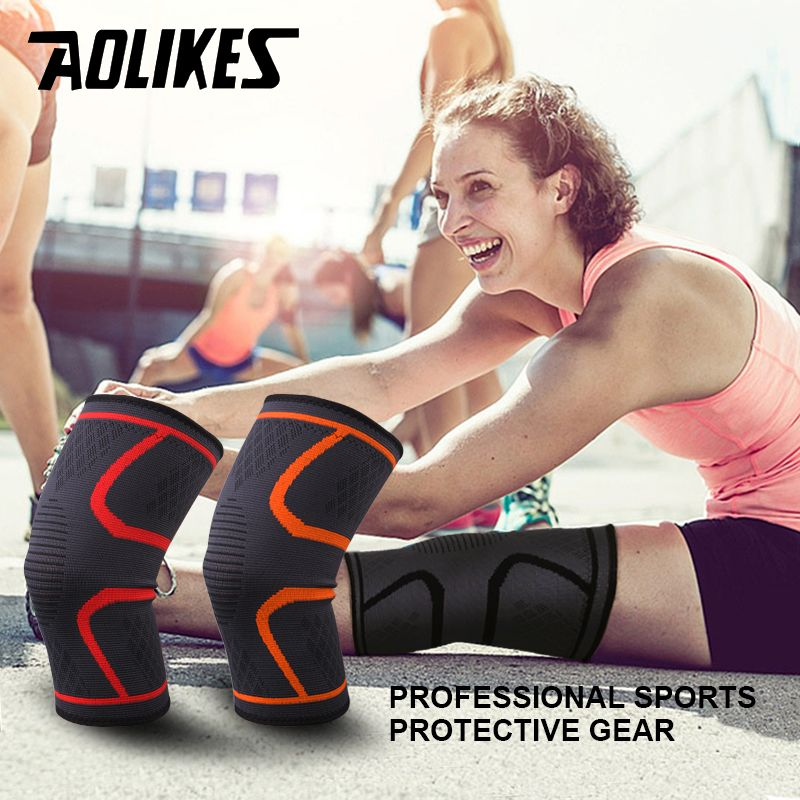 1pair Fitness Elastic Nylon Compression Basketball KneePad Running Cycling Knee Support Sports Braces Sleeve Volleyball Protect