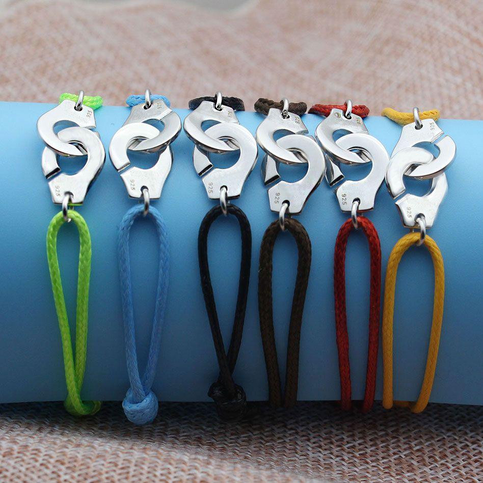 France Célèbre Marque Bijoux 925 Sterling Argent Menottes Bracelet Pour Les Femmes Hommes Bracelet de Corde 925 Argent Bracelet Menottes