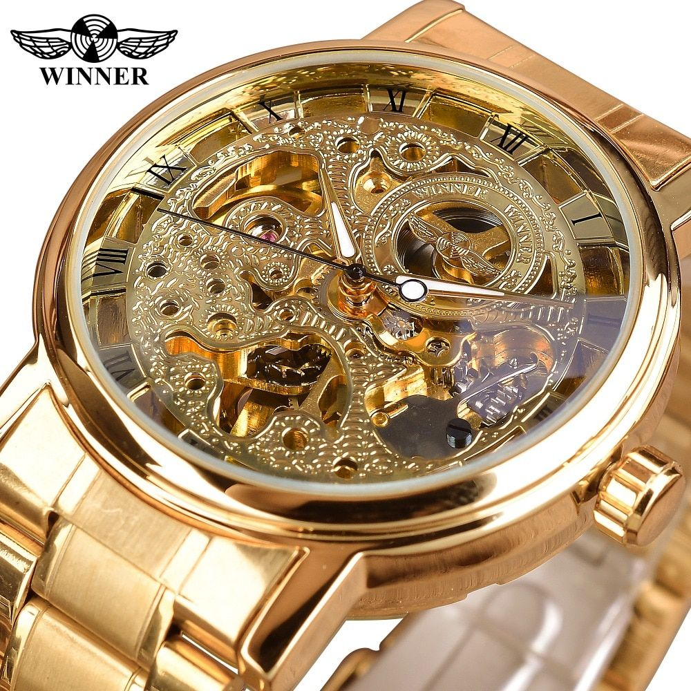 T-WINNER Fashion Royal Carving Golden Stainless Steel Mens Mechanical Business Wrist Watch Top Brand Luxury Skeleton Male Clock