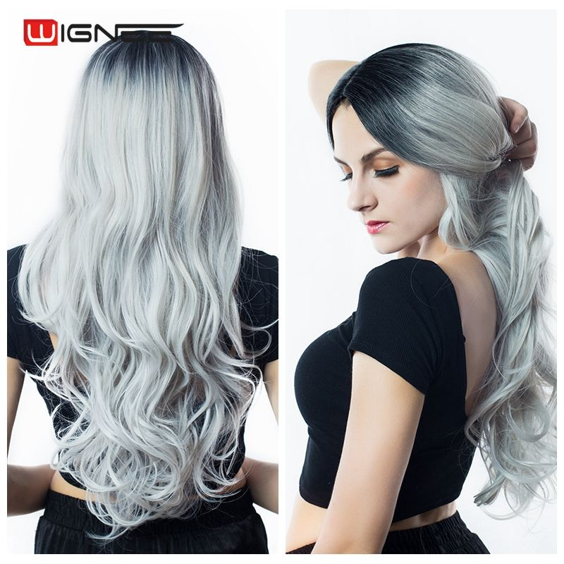 Wignee Long Hair Wavy Wigs High Density <font><b>Temperature</b></font> Swiss Lace Synthetic Wigs Ombre Grey/Blonde/Brown Cosplay Hair For Women