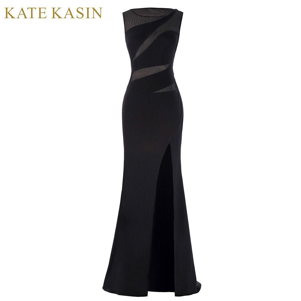 Kate Kasin Gaine Fente Sirène Robes De Bal 2017 Sexy de Plancher longueur Voir à travers Dentelle Robe De Bal Noir Long Soirée robe
