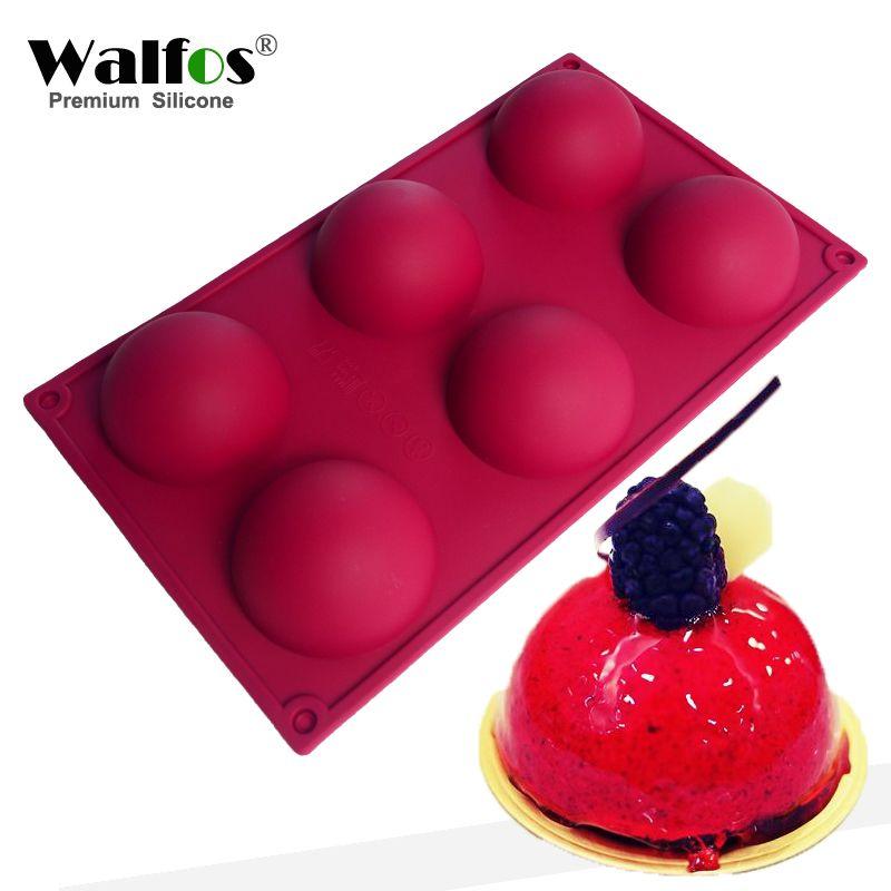 WALFOS moule à gâteau en Silicone de qualité alimentaire 6 cavités outils de pâtisserie antiadhésifs pour savon, Muffin, Brownie, pouding et Jello
