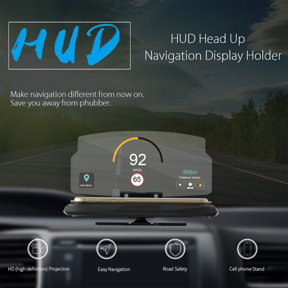 Universal Mobile Phone Car Holder Windscreen <font><b>Projector</b></font> HUD Head Up Display 6.5 Inch For iPhone/Samsung GPS