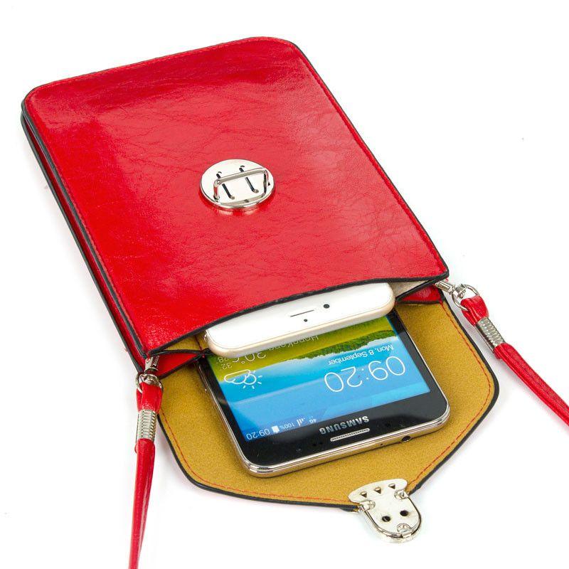 Cas En Cuir Petit Épaule Bandoulière Poche pour iPhoneX XS XR XS MAX 8 7 6 6 s Plus pour Samsung s9 8 Note 9 8 Mobile Téléphone Sac
