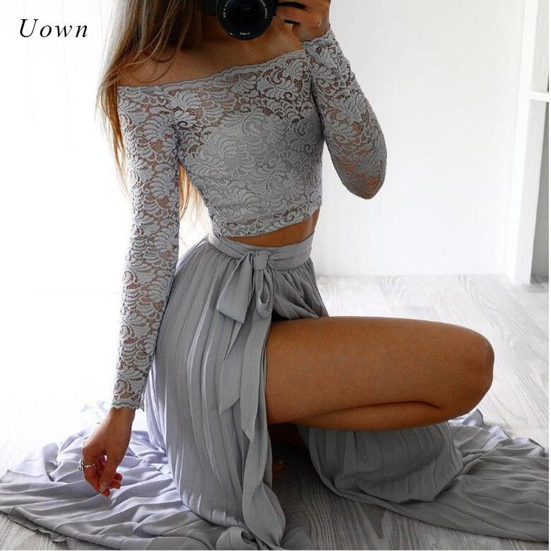 Two Piece Lace Dress Long Sleeve Off the Shoulder Crop Top and Skirt Set Sexy Side Split Party Chiffon Maxi Dresses for Women
