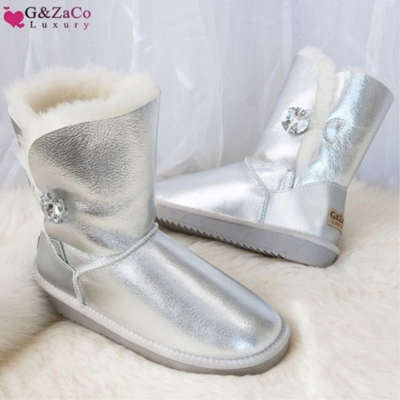 G&Zaco Luxury Winter Fur Boots Australia Sheepskin Snow Boots Natural Wool Mid Calf Boots Crystal Button Non-slip Womens Boots