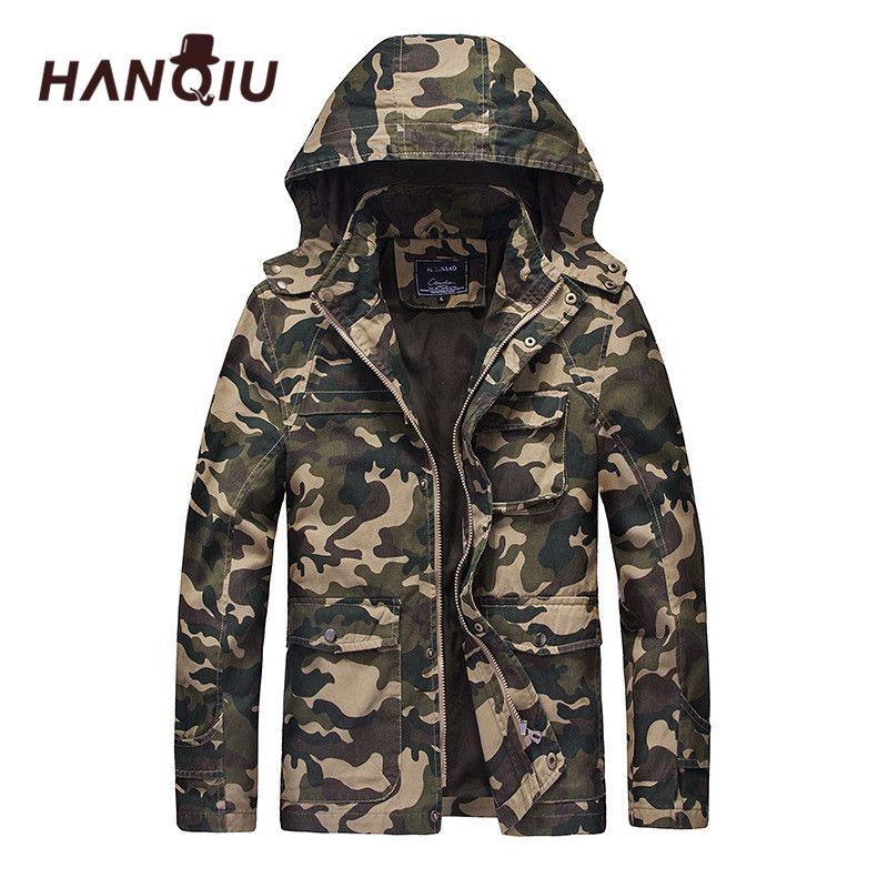HANQIU automne Camouflage veste militaire hommes à capuche Slim Fit coton hommes Camo armée manteau mode Homme veste Jaqueta Masculino