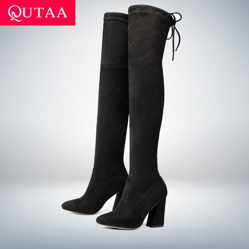 QUTAA 2018 nouveau troupeau en cuir femmes sur le genou bottes à lacets Sexy talons hauts automne femme chaussures hiver femmes bottes taille 34-43