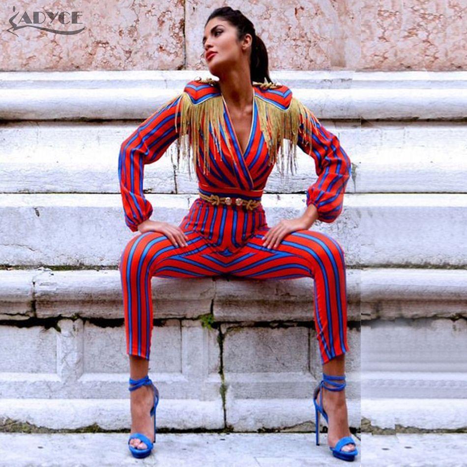 Adyce 2018 New Fashion Runway Jumpsuits Women Long Sleeve Red Blue Striped Tassel Bodysuit Bodycon Slim Celebrity Party Jumpsuit