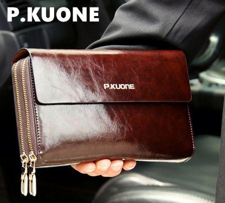 P.KUONE Luxury Shining Oil Wax Cowhide Men Clutch Bag, Long Genuine Leather men wallets, Double Layer Business Clutch
