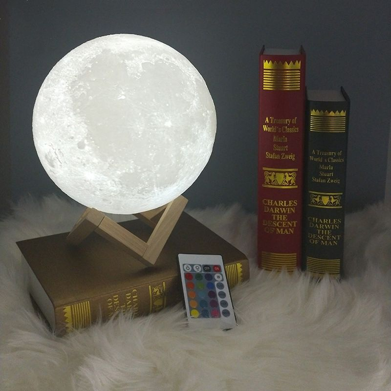 3D Print Moon Lamp 20cm 18cm 15cm Colorful Change Dimmable Rechargeable Touch USB Led Night Light Home Decoration Creative Gift