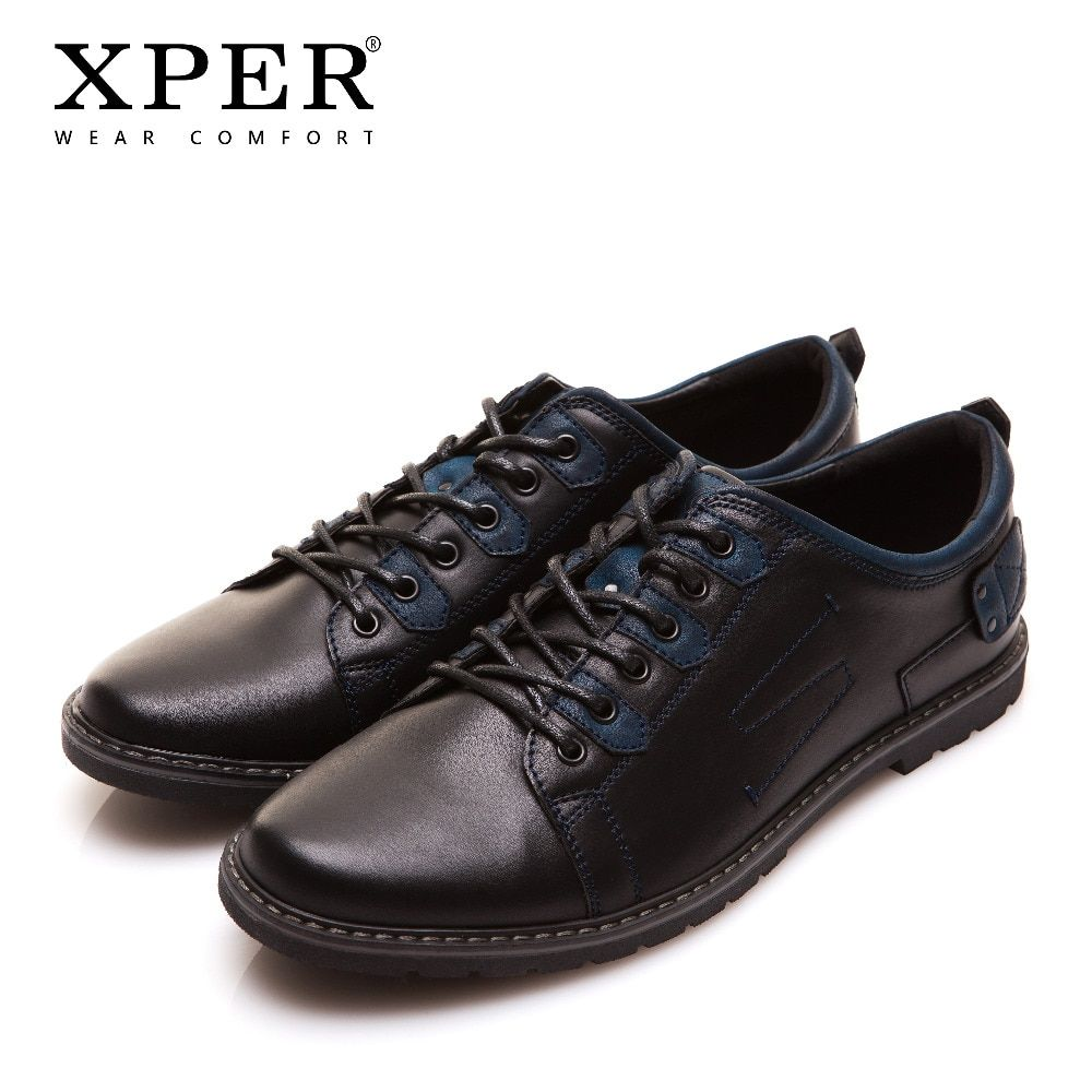 XPER Brand Men Leather Casual Shoes Mixed Colors Breathable Flats Shoes Men Business Footwear Lace-Up Wear Comfort #YM86819BU