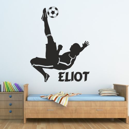 FUßBALL wandaufkleber kinder schlafzimmer jungen fußballer aufkleber personalisierte vinyl freies verschiffen