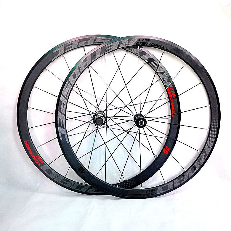 C6.0 super-light aluminum road bicycle 4perlin bearing wheelset flat spokes racing 40-speed rims 700C with anti-cursor