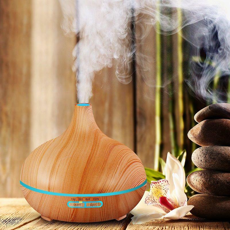 2018 300 ml Ultrasons Aromathérapie Humidificateur D'huile Essentielle Diffuseur Purificateur D'air pour Accueil Mist Maker Aroma DiffuserLED Lumière